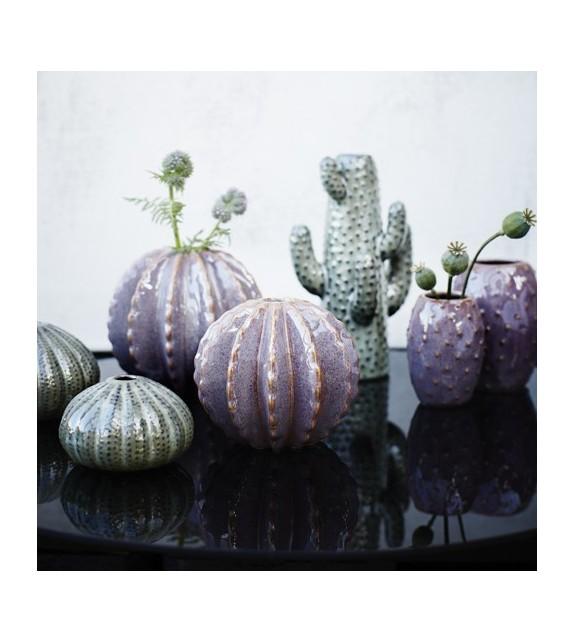 Vase cactus rond aubergine