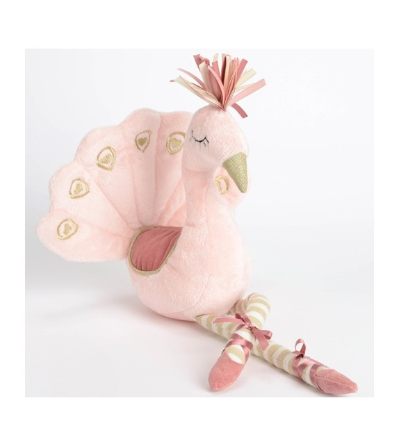 Peluche paon rose