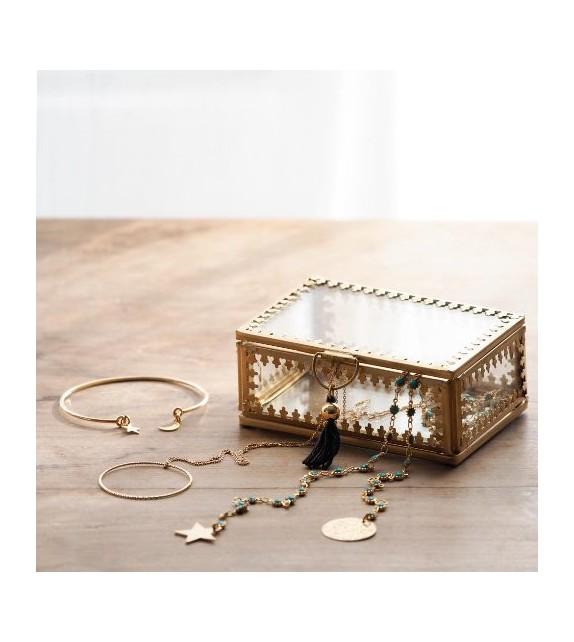 Coffret verre métal gold