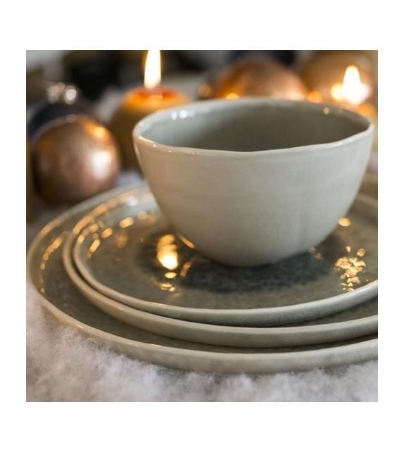 Assiette porcelaine grise