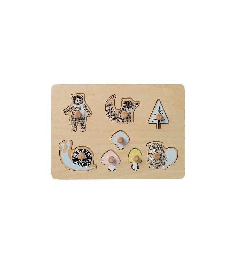 Puzzle animaux en bois peint esprit scandinave ~ Puzzle Animaux Bois