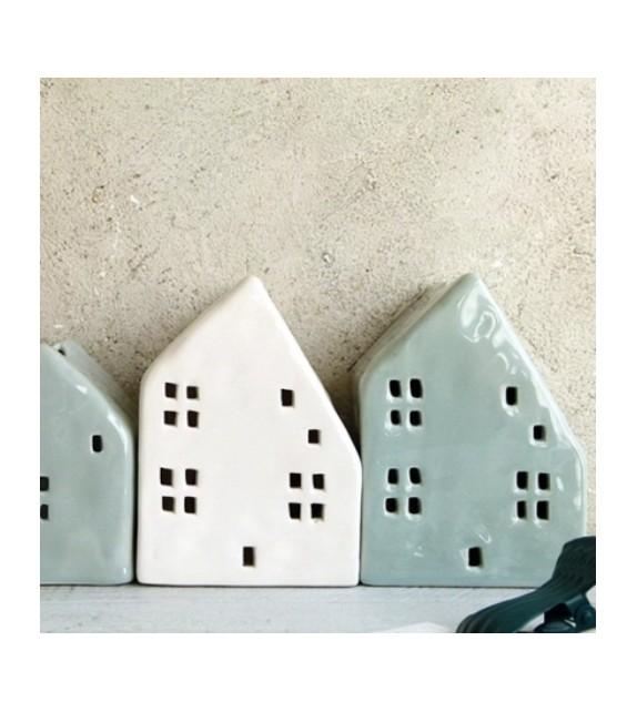 Photophore maison céramique blanche