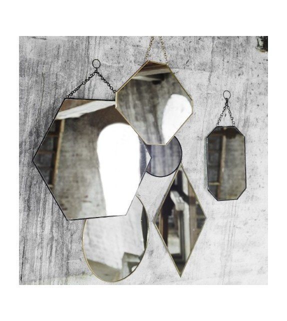 Miroir suspendu noir hexagone