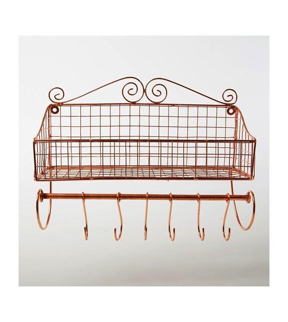 etag re m tal cuivr avec crochets. Black Bedroom Furniture Sets. Home Design Ideas