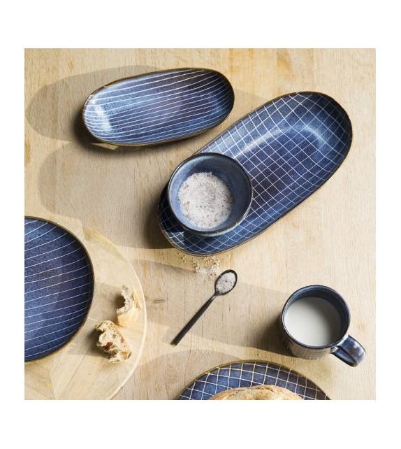 Plat ovale grès bleu