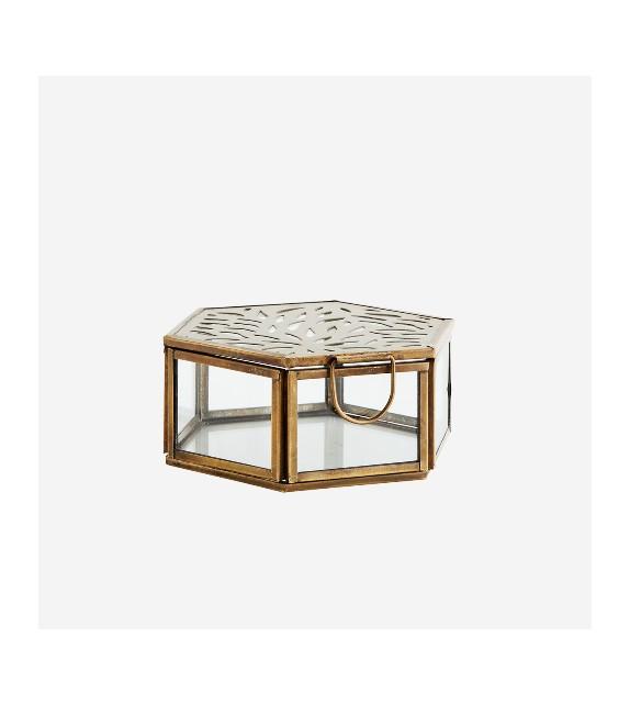 Coffret hexagonal métal doré