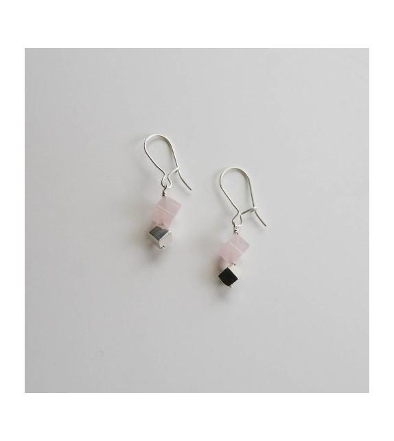 Boucles dormeuses Luce quartz rose