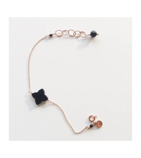 Bracelet As de trèfle Onyx noir